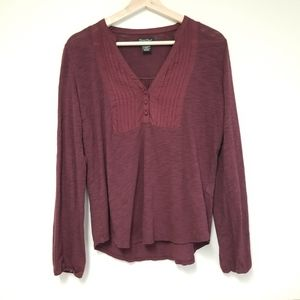 Lucky Brand   Wine Colored Ruffle Button Longsleev